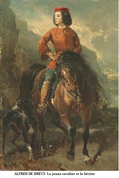 1810 1860 jeune cavalier et levrier