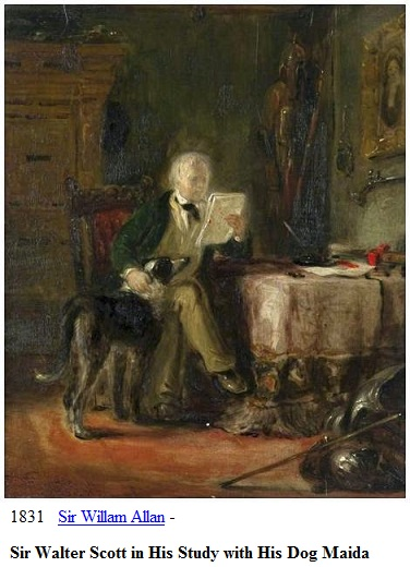 1831 sir willam allan sir walter scott in his study with his dog maida