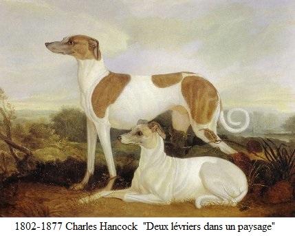 1837 charles hancock deux levriers dans un paysage