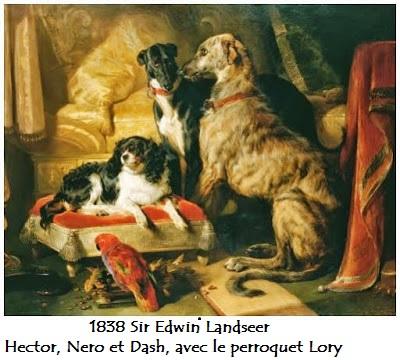 1838 sir edwin landseer 1838 hector nero et dash avec le perroquet lory