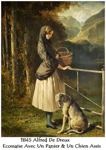 1845 alfred de dreux ecossaise avec un panier un chien assis