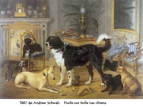 1867 de andrew schwab huile sur toile les chiens