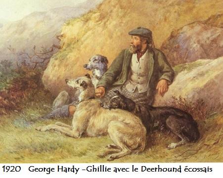 1920 george hardy ghillie avec le deerhound ecossais